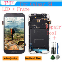 Wholesale galaxy s4 lcd black - LCD Display Touch Replacement Screen for Samsung GALAXY S4 i9500 i9505 with Digitizer Frame Assembly White BLack Blue + Repair Tool