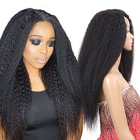 Wholesale kinky bangs resale online - 24 quot long straight black wig Synthetic Afro Kinky Straight Hair For African American Women Long Black Wig No Bangs
