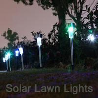 Wholesale mosaic glass lamps - Solar LED Lawn Garden light Rechargeable Lawn Path LED Glass Mosaic Lights Blue,Orange,Purple outdoor lamp