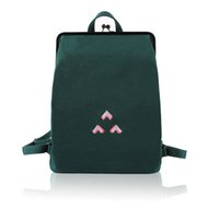 Wholesale backpack clasp for sale - Group buy YIZISTORE Fresh Embroidery Canvas Backpacks With Metal Frame Clasp For Teenage Girls FUN KIK