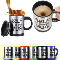 Wholesale automatic packing - Creation Automatic Electric Coffee Mugs Stainless Steel Lazy Drinking Cup Drinkware Gifts With Retail Pack 400-500ML WX9-226