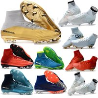 Wholesale Leather Turf Soccer Shoes - Kids Mens MercurialX Proximo 2 II DF FG New Football Boots Mercurial Superfly Soccer Cleats High Ankle Turf Soccer Shoes Superflys 2017