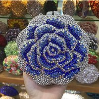 день чернокожих женщин  оптовых-female black Clutch Purse  Women red Crystal Evening Clutch Bags Flower Hard Case Bling box pink Rhinestone day Clutches