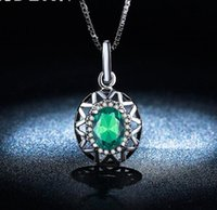 Wholesale platinum pendant for women for sale - Group buy Zircon Necklace Green Platinum Plating Silver Diamond Necklace Pendant Fashion for Women Big Rhinestone Necklaces for Wedding Jewelry