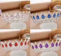 ingrosso blu corona tiaras-Princess Rhinestone Crystal Crowns Wedding Diademi Party Accessories Gioielli testa (blu + argento) S919