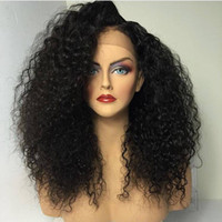 pelucas de moda afroamericana al por mayor-Fashion Side Part Afro Black Wig Kinky Curly Synthetic Lace Front Wigs With Baby Hair Heat Resistant Hair Wigs for African American Wigs
