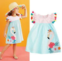 Wholesale striped girl christmas dresses - Kids Baby Girls Striped Swan Dresses Tassel Flower Dot Dress Animal Summer Children Clothing Boutique 2018 Princess Tutu Dresses Kid Clothes