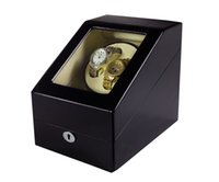 Wholesale Painting Wooden Boxes - DHL Send 4 Colors Luxury Wooden Watch Winder Wristwatch Box Rotary Automatic Rotating Watch Winder Display Gloss Piano Paint