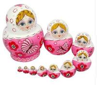 muñecas de vinilo se ven reales al por mayor-10 Unids / set Rusa De Madera Chica de Rusia Pintado Muñecas de Jerarquización Babushka Matryoshka Regalos Juguetes de Pintar Juguetes de Mano