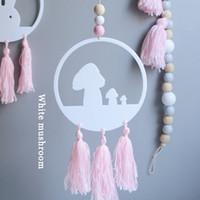 ingrosso i fenicotteri giocano i bambini-Decorazioni europee Nordic Swan Flamingo Pendant Perle di legno con nappa Dream Catcher Appeso a parete Giocattolo Regalo di compleanno per bambini