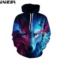 kurt galaksisi hoodies toptan satış-LIESA Kurt 3D Hoodies Erkek Kadın Kazak Kapşonlu Kazak 3D Hoodie Anime Galaxy Aslan Uzay Kaplan Hayvan Baskı Streetwear Hoody