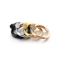 Wholesale diamond nail ring jewelry - European and American fashion nail drill steel ring, titanium steel jewelry ring women's rose gold nail Mosaic diamond ring
