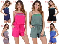 Wholesale suspender shorts women - Jumpsuit Sexy Beach Rompers Women Print Onesies Lady Summer Slim Bodycon Bodysuit Suspender Shorts Jumpsuit Playsuit Beachwear YYA1051