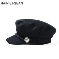 Wholesale ladies winter vintage style hats for sale - RAINIE SEAN Women  Baker Boy Cap Black 38af13a7205