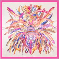 pañuelos de pañuelo al por mayor-Nueva llegada de impresión de moda sarga de seda bufanda cuadrada bufandas de mujer envolturas Foulard Office Lady Hijab pañuelo accesorio 90 cm * 90 cm