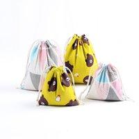 ingrosso disegno della borsa di lino-Gift Bag DHL libero-Natale puro cotone con coulisse Linen Canvas Sack Bags Con Xmas Orso Triange figure 4 design per i regali Candy