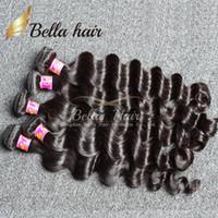 siyah atkı insan saç uzantıları toptan satış-Bella Hair® 4 adet / grup Brezilyalı Saç Uzantıları Hint Işlenmemiş 8A İnsan Saç Paketler Gevşek Derin Dalga Doğal Siyah Renk Saç Dokuma Atkı