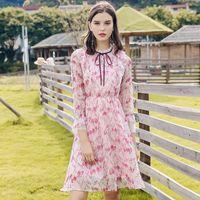 glockenröcke großhandel-Damen Stehkragen Casual Dress S-XL 2018 Herbst und Sommer Bell Sleeve Print Rock Chiffon-Kleid