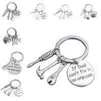 Wholesale Key Shipping - Keyring ''If Dad Can't Fix It No One Can'' Hand Tools Keychain Hammer Screwdriver Wrench Charms Key Ring Key Holder DROP SHIP 170880