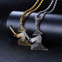 ingrosso fascino di spada d'oro-Hiphop Samurai Sword Collane Gioielli per uomo Bling Ice Out CZ Pendente Neckalce Placcato in oro 18K Accessori Hip Hop