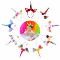 haare zubehör karneval großhandel-9 Arten Einhornstirnband glitzern Ohr mit Stereochiffonblumenhaar-Zusatzprinzessin Halloween-Karneval Haar haftet Band freies Schiff