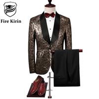 Wholesale Stage Wear Jackets - Fire Kirin Men Suit 2017 Slim Fit Black Gold Tuxedo Jacket Luxury Brand Mens Stage Wear 4XL Fashion Designer Prom Suits Q298