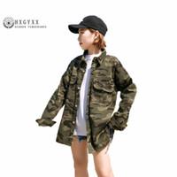 ingrosso la giacca coreana dell'esercito-2018 New Retro Dpring e Autumn Fashion The Wild Giacca donna Casual verde militare Camouflage Coreano Denim Cappotti Donna G0169