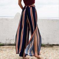 robes à rayures achat en gros de-2018 robe d'été baggy mousseline de soie pantalon fendu confort ajustement jambe large rayé pleine longueur femmes
