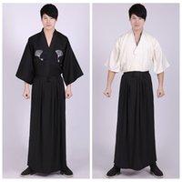 roupa de algodão japonês venda por atacado-3 Peça Set Kimonos Japoneses Roupas Tradicionais Samurai Cosplay Traje Dos Homens Do Vintage Longo Estilo Kimono Yukata Algodão Verão