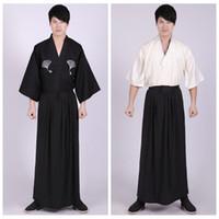 yukata baumwolle großhandel-3 Stück Set japanische Kimonos traditionelle Kleidung Samurai Cosplay Kostüm Männer Vintage lange Kimono Sommer Stil Baumwolle Yukata