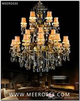 grand chandelier antique achat en gros de-Large 3 Tiers 24 Bras Lustre En Cristal Luminaire Antique En Laiton Luxueux Cristal Lustre Lampe MD8504-L24 D1150mm H1400mm