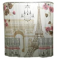 cortina de chuveiro de torre venda por atacado-Tração simples do anel do poliéster da cortina de chuveiro do banheiro da família da torre cômica fácil instalar