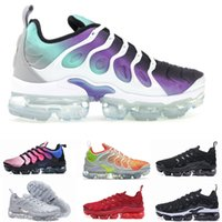 Wholesale new packing - 2018 New Vapormax TN Plus Olive Mens Sports Running Shoes Sneakers Metallic White Silver Colorful For Male Shoe Pack Triple Black size 36-46