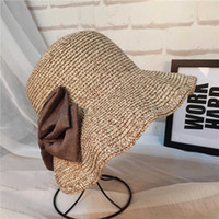 Wholesale large girls wide brim hats resale online - Women s Sunhats Straw cap Fashionable Foldable Large Brim Crochet Summer Knit West Cowboy Sun Hat UV Beach Hats for girls