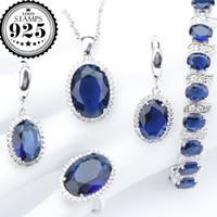 ensembles de bijoux de mariée zircone achat en gros de-Ovale Bleu Zircone Argent 925 Costume Bridal Jewelry Sets Femmes Bracelets Collier Pendentif Anneaux Boucles D'oreilles Set Bijoux Boîte-Cadeau