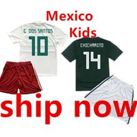 Wholesale teen s - Mexico Kids Soccer Jersey Set World Cup 2018 Children Camisas de Futebol Ninos Home Green White Boys Teens Football Kit Uniform Shirt Short