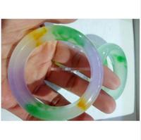 tipos de porcelana venda por atacado-2018 Natural A Gelo de Carga Tipos de Natural Jadeite Jade Pulseira de Três Cores de Cor Jade Pulseiras 56mm-60mm