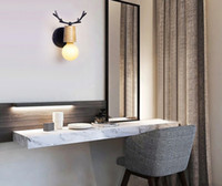 deer, parede, penduradas venda por atacado-Cabeça de veado lâmpada Nordic cama quarto sala de estar porta da lâmpada personalidade criativa corredor corredor escadas Yang parede pendurado candeeiro de mesa