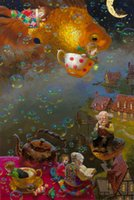 Wholesale Framed Office Wall Art - Victor Nizovtsev Oil Painting Dream fish Mermaid series Art Reproduction Giclee Print on Canvas Modern Wall Home Art office Decoration VN05