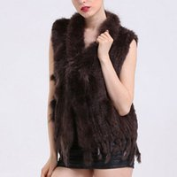 Wholesale White Women Fur Vest Faux - Faroonee New Womens Rabbit Faux Fur Vest with Raccoon Fur Collar Sleeveless Winter Soft Waistcoat Hairy Jacket Coat DQ2952