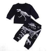 печать на ткани мальчика оптовых-2018 Baby Boy взрыв костюм хлопчатобумажная ткань европейский стиль весна осень зима набор принтов динозавров