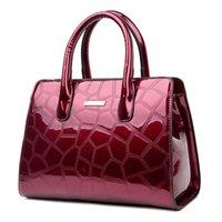 bolsas rojas de patentes al por mayor-Nuevos bolsos de las mujeres de alta calidad de la charol bolsos de hombro en relieve de la oficina de las señoras del trabajo embragues Boston Messenger Bags Red