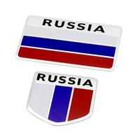 emblèmes de voiture de drapeau achat en gros de-Mode qualité 3D Aluminium Russie Drapeau voiture Badge Emblème 3 M autocollant accessoires autocollants Pour VW Audi chevrolet honda Car Styling