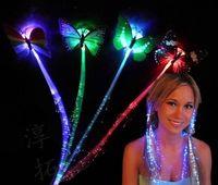trenzas de pelo intermitente al por mayor-Flash trenza pinza de pelo con mariposa Colorido trenza luminosa fibra óptica clip de pelo de seda al por mayor luces LED flash horquilla bar animando