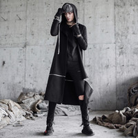 mens trench coat preto longo venda por atacado-Homens punk hip hop trincheira longo jaquetas cantora boate preto traje mens gótico casaco com capuz casaco casaco coreano removível