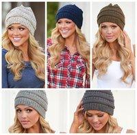 kablo örme kışlık şapka toptan satış-Kadın Örme Beanie Hat 9 Renkler Yumuşak Streç Kablo Örgü Kış Sıcak Kafatası Beanie 30 adet OOA3836