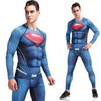 Wholesale full superman - 2017 18 Men Compression Tights Superman Jogger Tights Long Pants Fitness Skinny Leggings Trouser Sport Suit rashgard kit