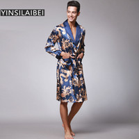 faux seidenroben groihandel-Dragon Männer Nachtwäsche Männer Robe Plus Size Männer Bademantel Faux Silk Satin Nachthemd Kimono Homme Home Wear für Männer SY109 # 10