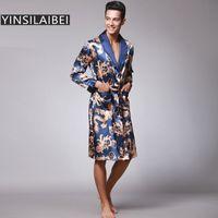 chemise de nuit en soie grande taille achat en gros de-Dragon Men's Sleepwear Homme Robe Plus La Taille Hommes Peignoir Faux Soie Satin Chemise De Nuit Kimono Homme Maison Usure pour Hommes SY109 # 10