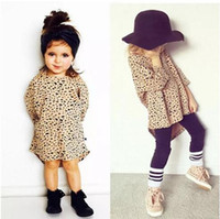 Wholesale baby clothes factory online - Fashion Top Leopard Versatile Dress Baby Clothes Kid Long Stlyle Clothing Girl Cotton Toddler Top T Factory T shirt B11